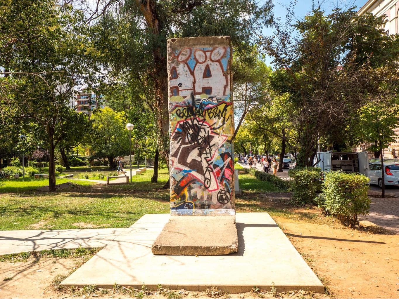 A piece of the Berlin Wall in Tirana