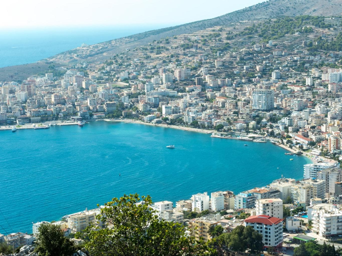 Aerial view of Saranda from the Castle on top of the hill