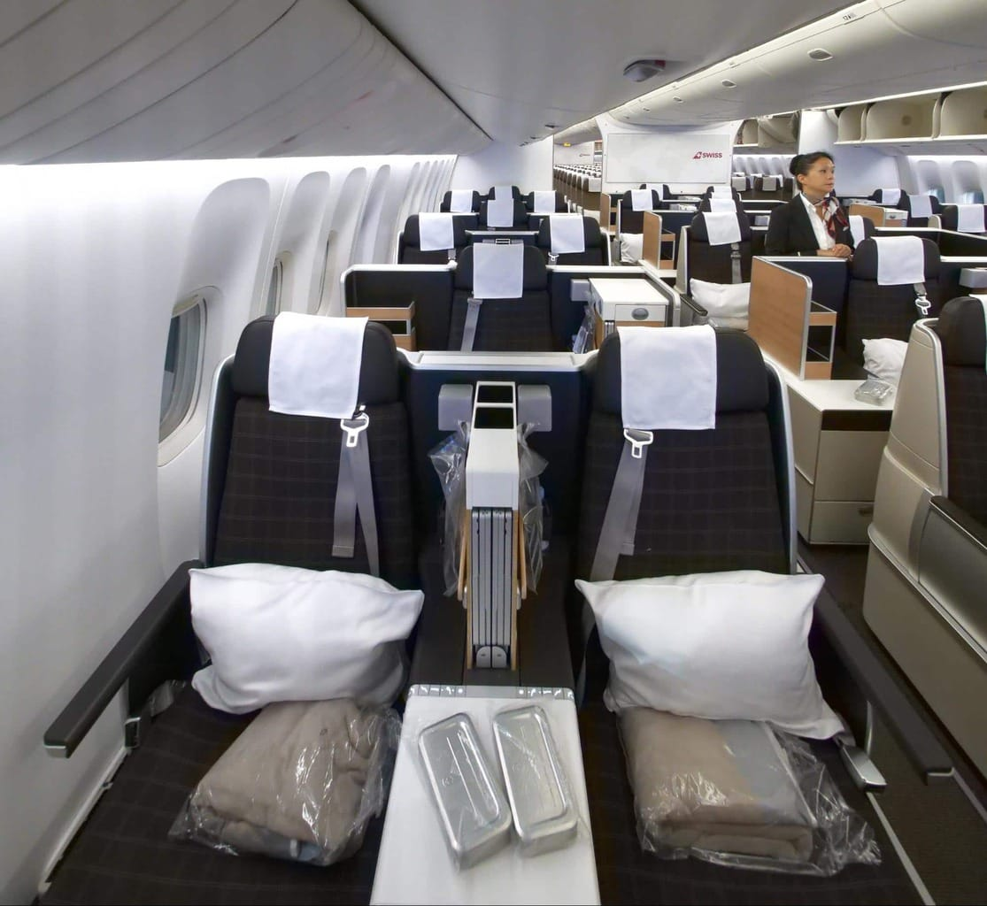 Double seat by the window on Swiss Business Class