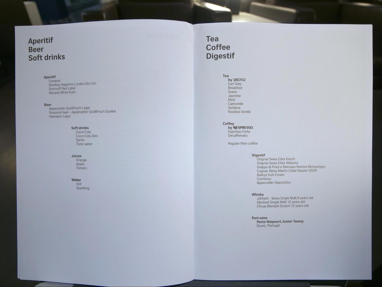 Drinks list on Swiss Business Class