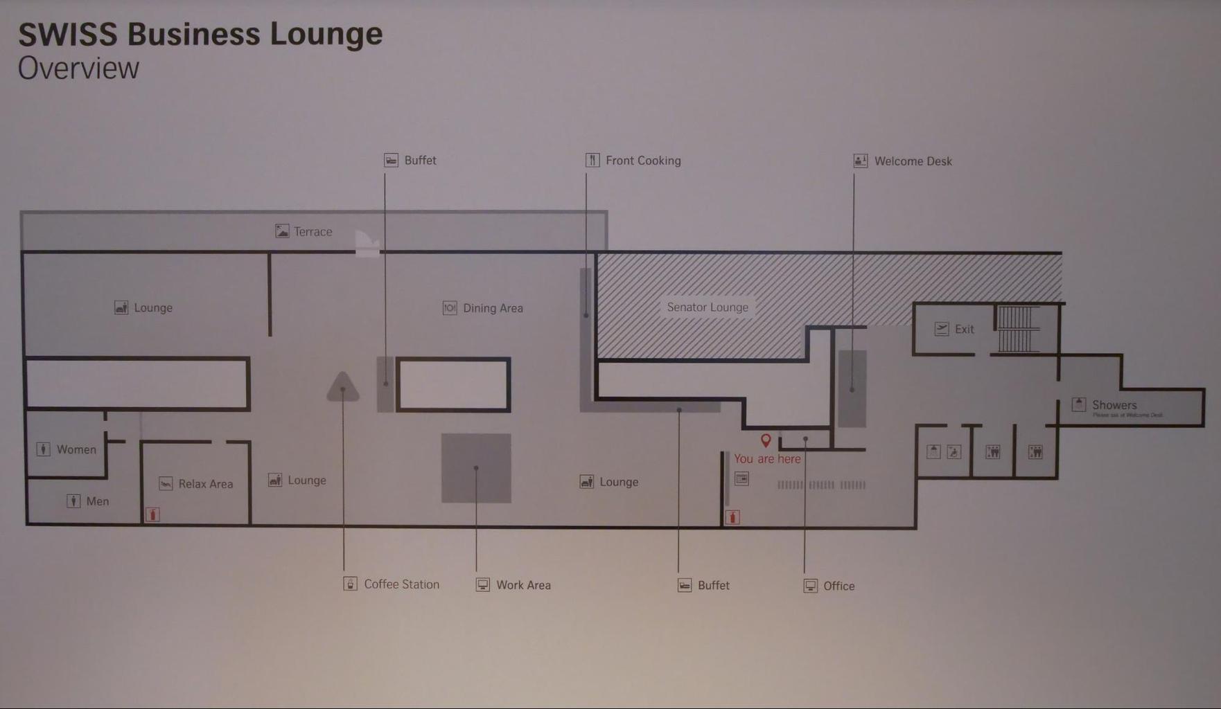 Floor plan of Swiss Business Class lounge at Zurich airport
