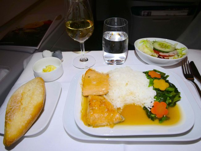 Lufthansa A380 Business Class food