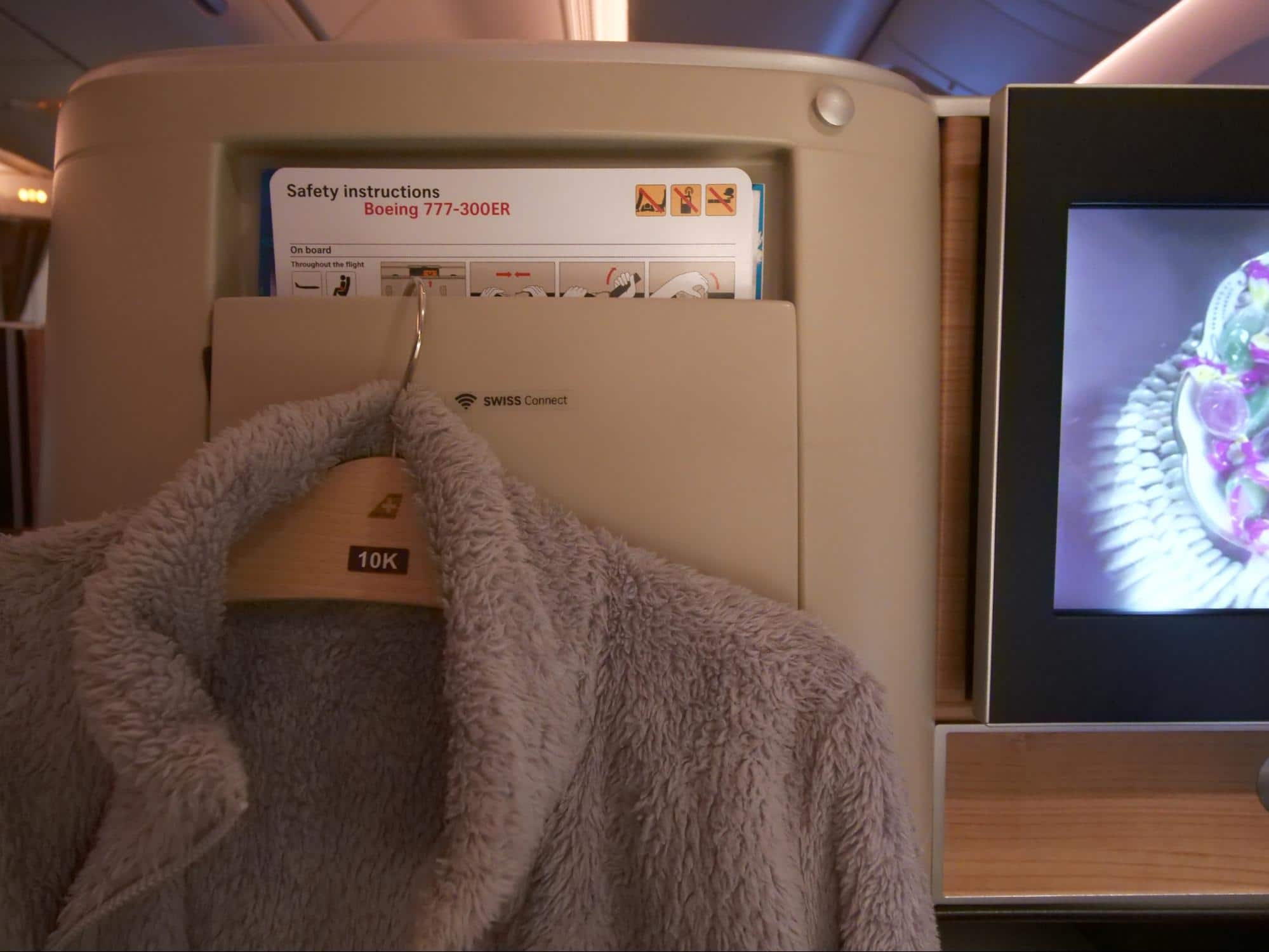 Hooks and coat hanger on Swiss Business Class