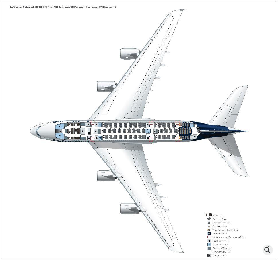 Lufthansa A380 cabin configuration - Upper deck.