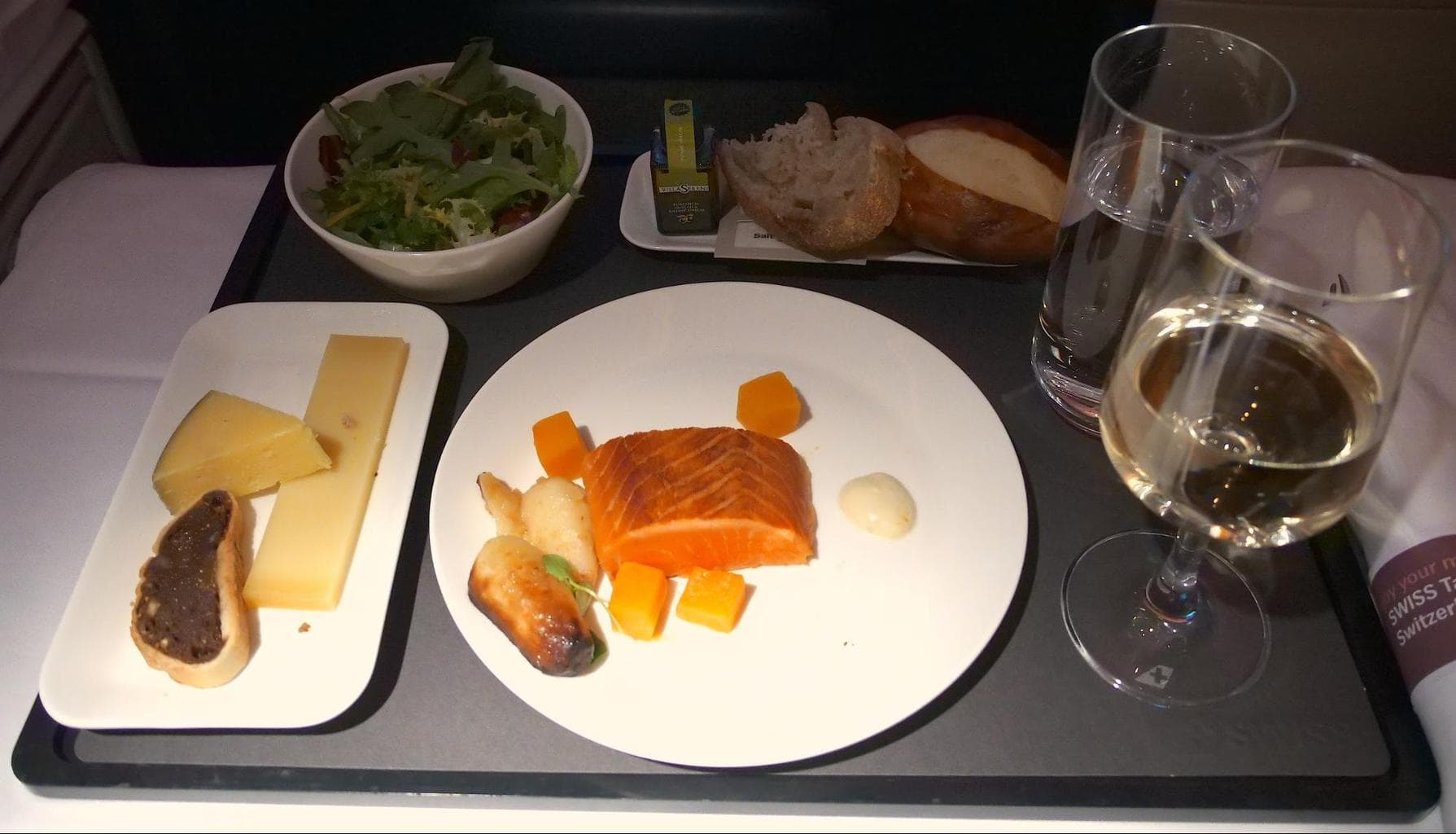 Meals on Swiss Business Class served in a tray