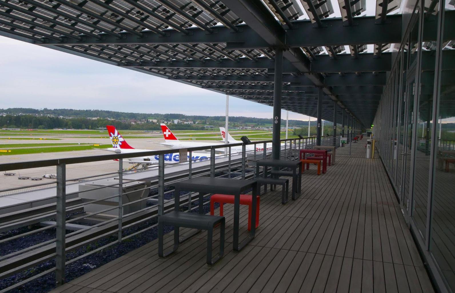 Outdoor balconies with runway views