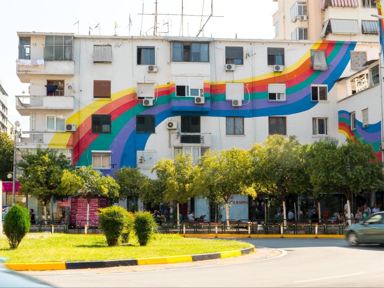 Rainbow building in Tirana