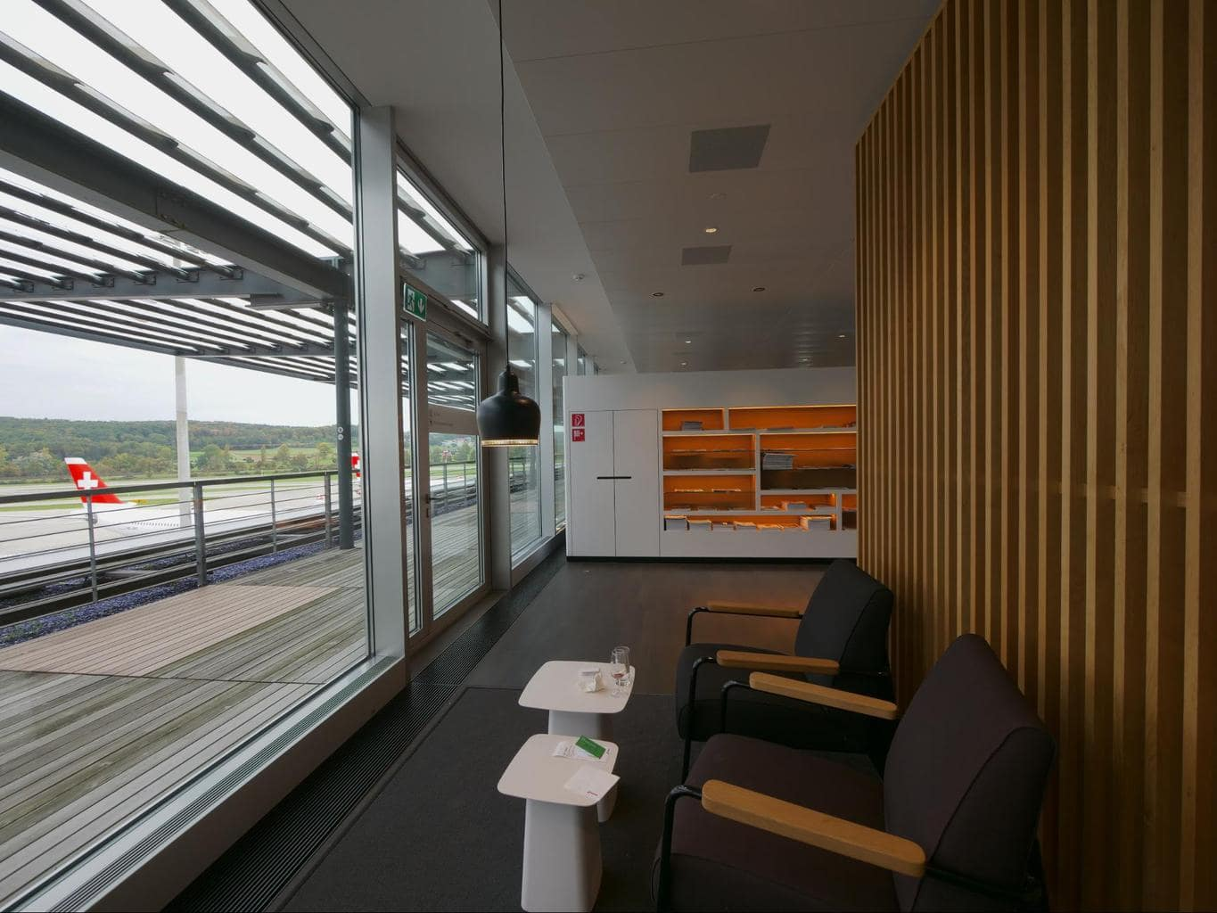 Runway views from Swiss Business Class lounge at Zurich airport