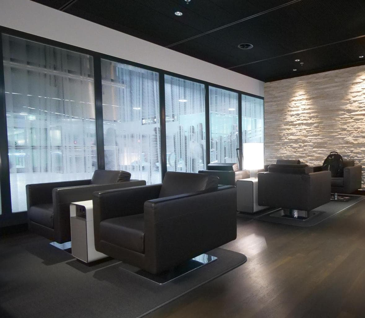 Sofa area at Swiss arrival lounge in Zurich