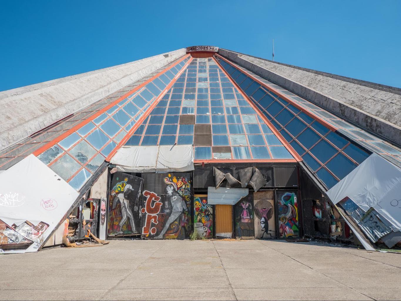 The entrance to Tirana's Pyramid