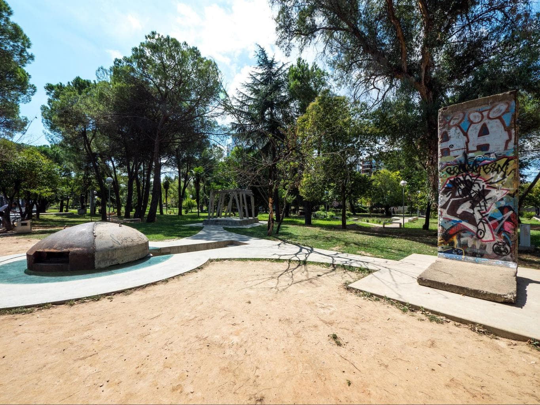 The three parts of Postbllok in Tirana