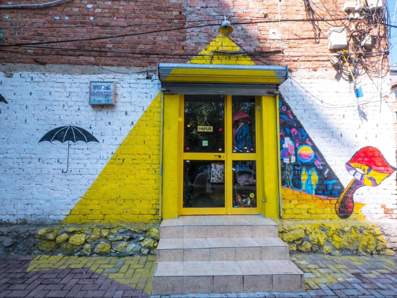 Wall mural on the entrance to a vintage store in Blloku