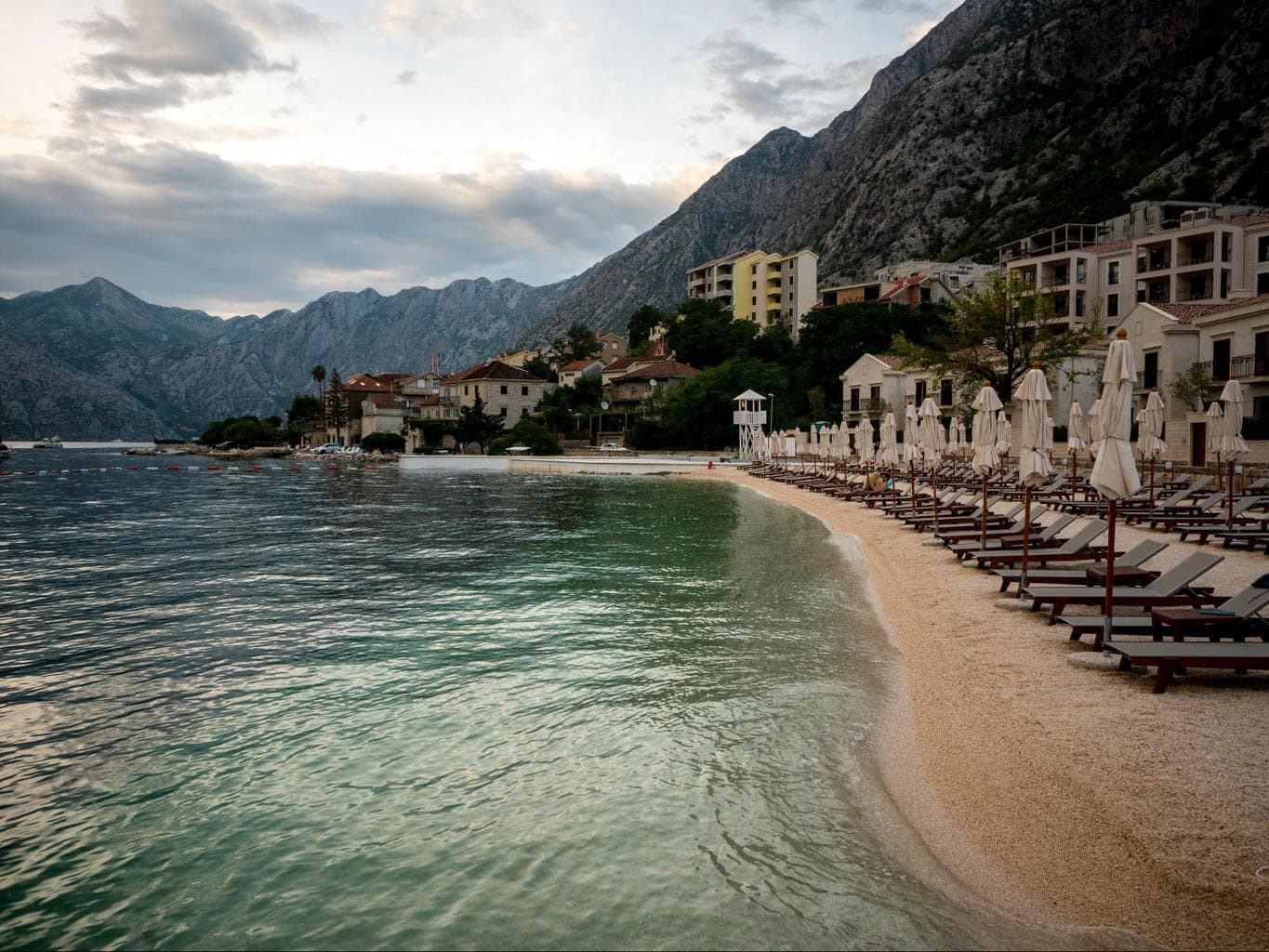 Dobrota beach in front of Azure Palazzi