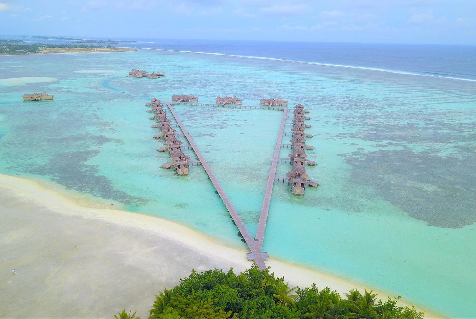 One of the jetties at Gili Lankanfushi on a cloudy day
