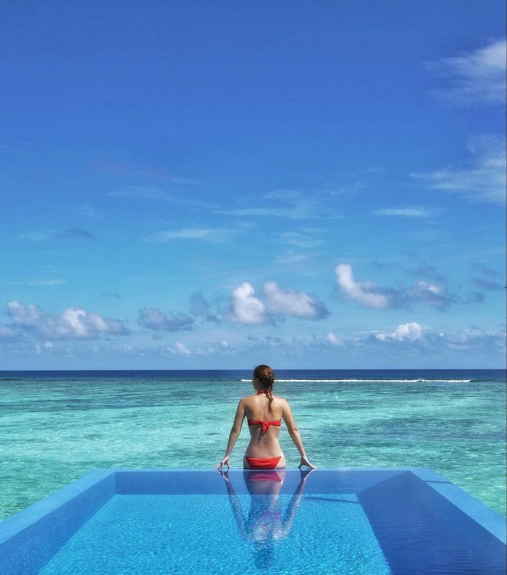 Outdoor pool at LUX* Maldives Romantic Pool Water Villa