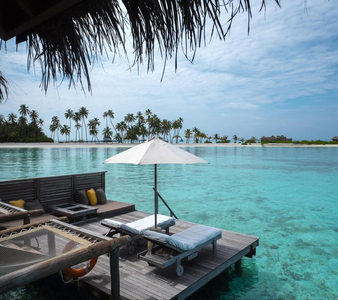 Outdoor terrace of the water villas at Gili Lankanfushi