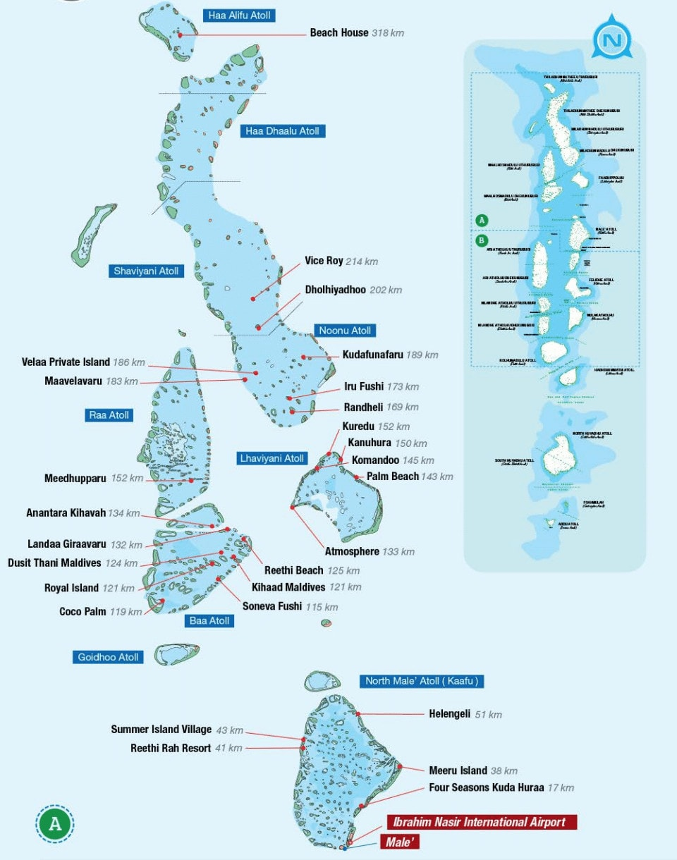 Picture 1 of Maldives resort map from the TMA in-flight magazine