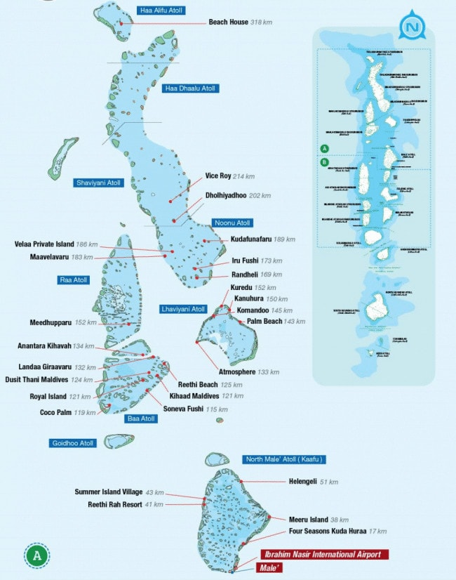 Picture of Maldives resort map from the TMA in-flight magazine 01