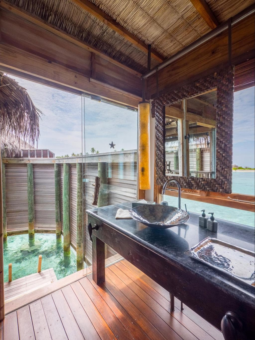 Semi open-air bathroom at Gili Lankanfushi