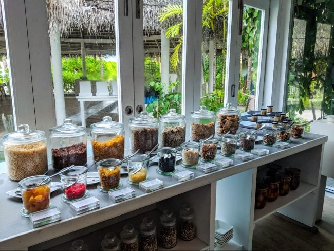 Some of the breakfast foods at LUX* Maldives 01