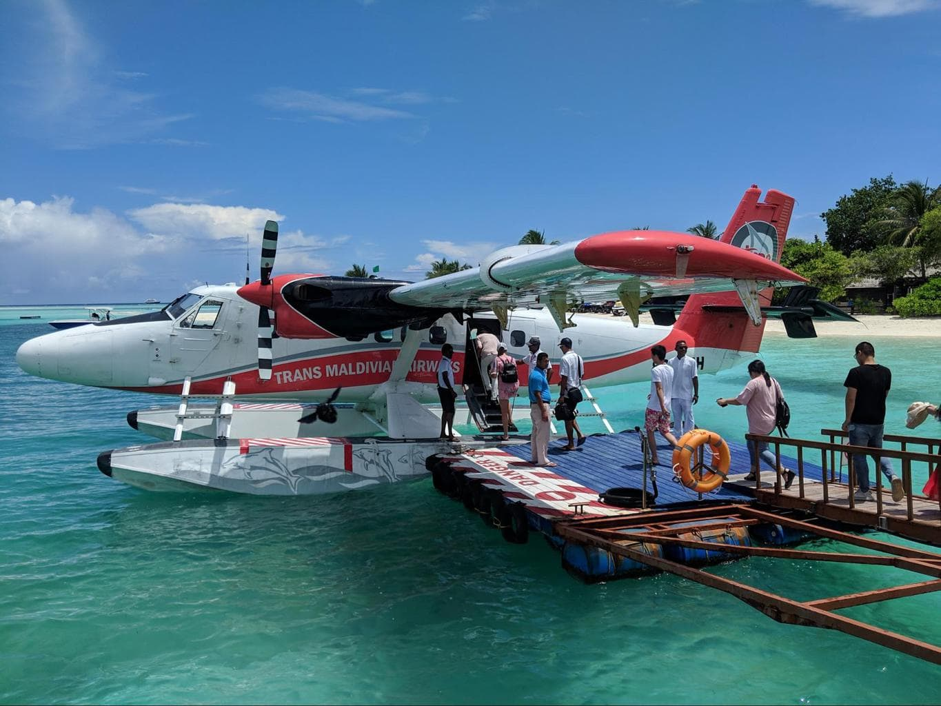 Trans Maldivian seaplane at LUX* South Ari Atoll