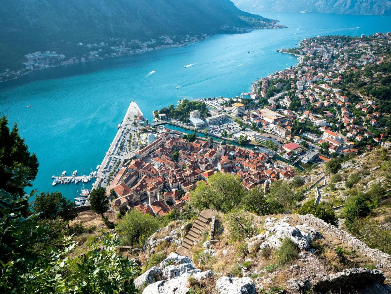 View from above Kotor. The beaches are to the right of the river