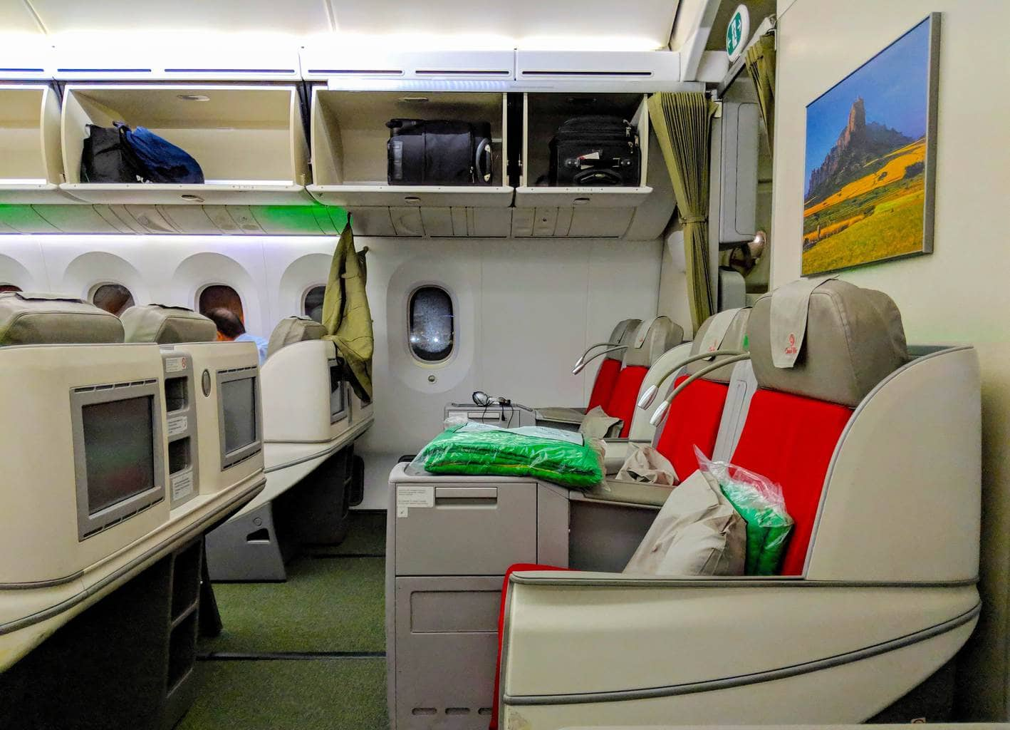 Cabin of the Ethiopian Airlines Boeing 787 Business Class