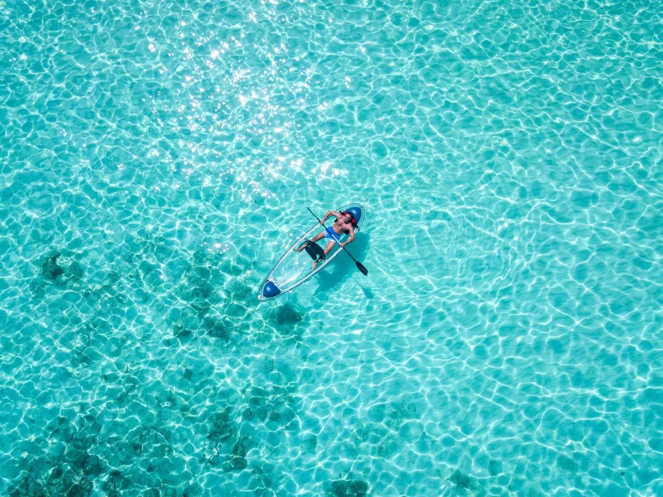 Glass kayaks at Joali Maldives