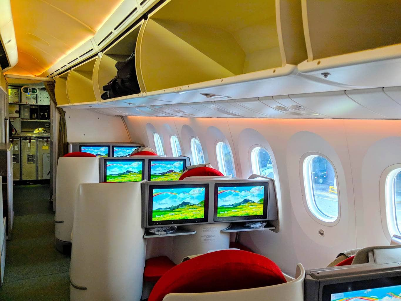 New Ethiopian Airlines Boeing 787 cabin and tvs
