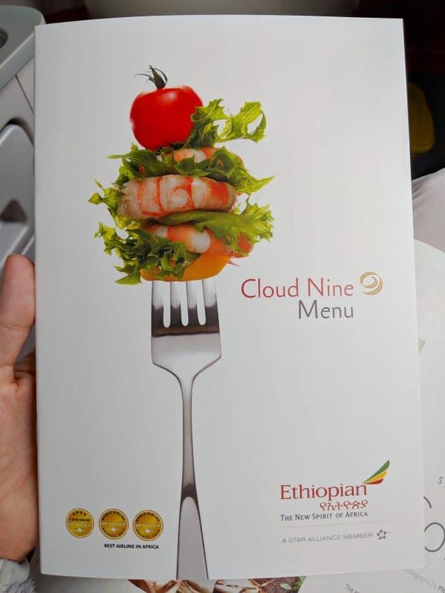New Ethiopian Airlines Boeing 787 menu 01
