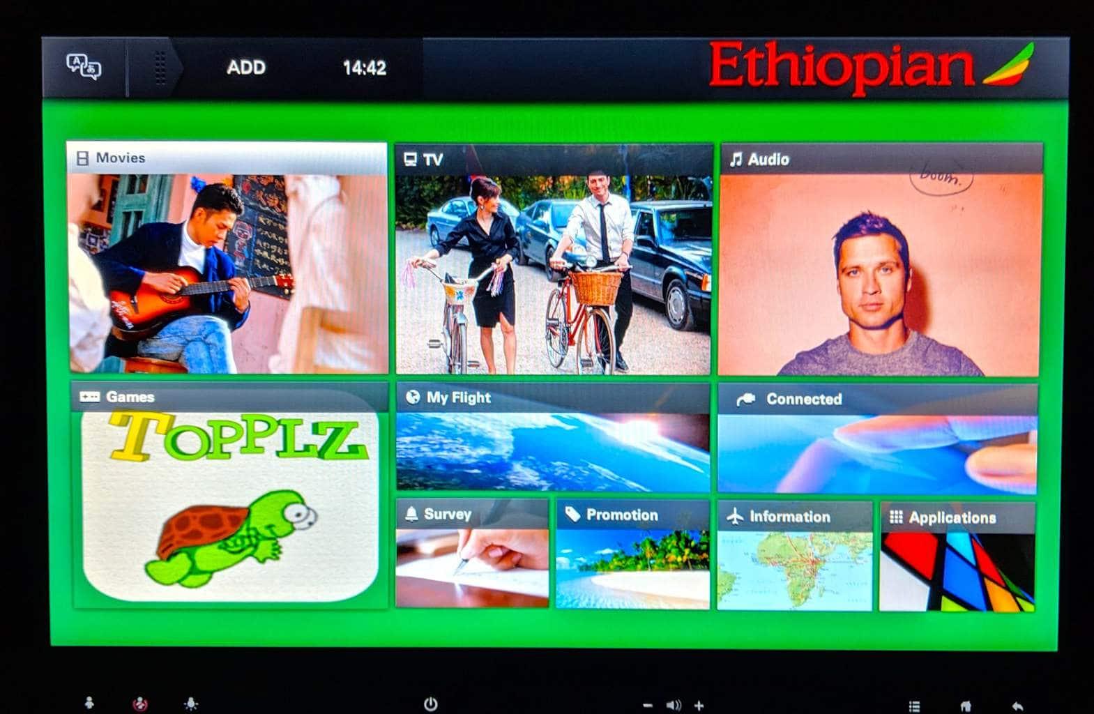 New Ethiopian Airlines Boeing 787 menu