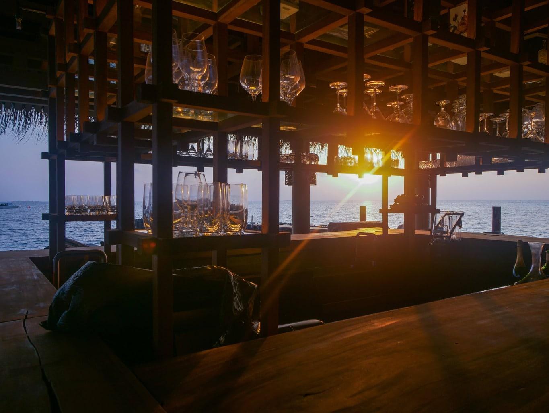 Saoke Restaurant at sunset in Joali Maldives