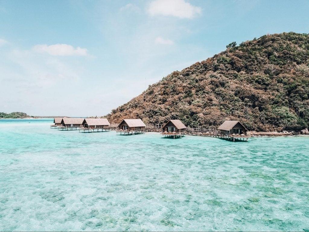 Stilted overwater villas at Bawah