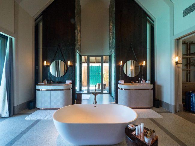 The bathroom inside Joali's Luxury Water Villas
