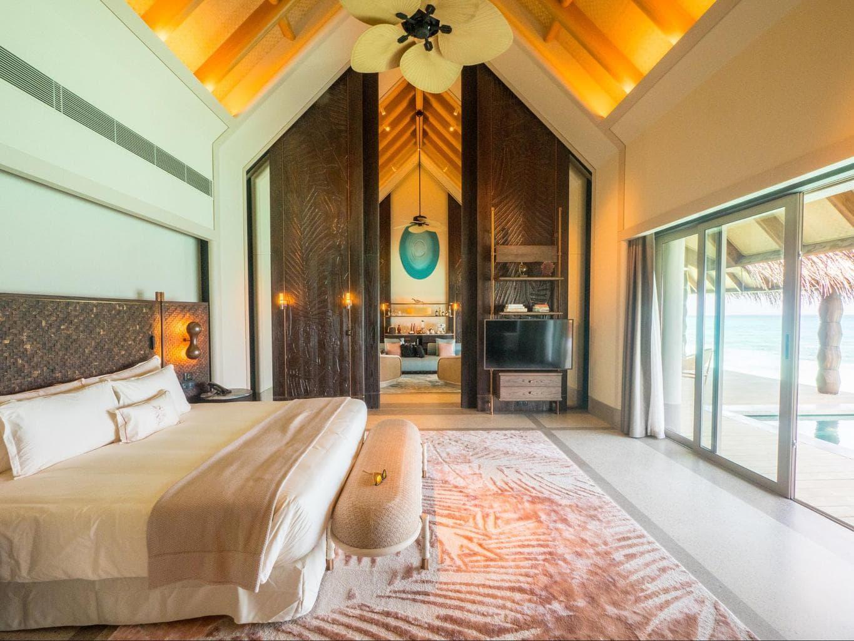The bedrooms inside Joali's Luxury Water Villas