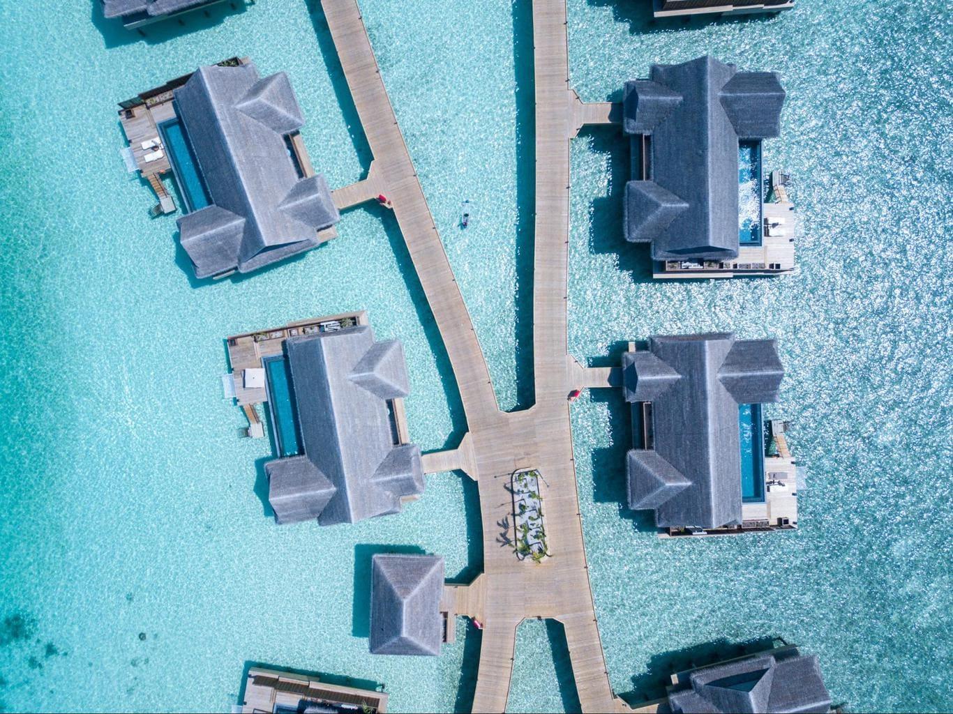 The luxury water villas at Joali Maldives drone shot