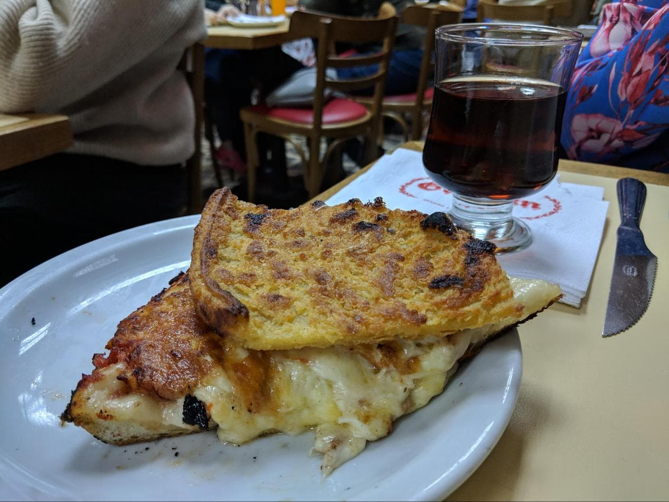 Argentinian pizza a caballo with moscato