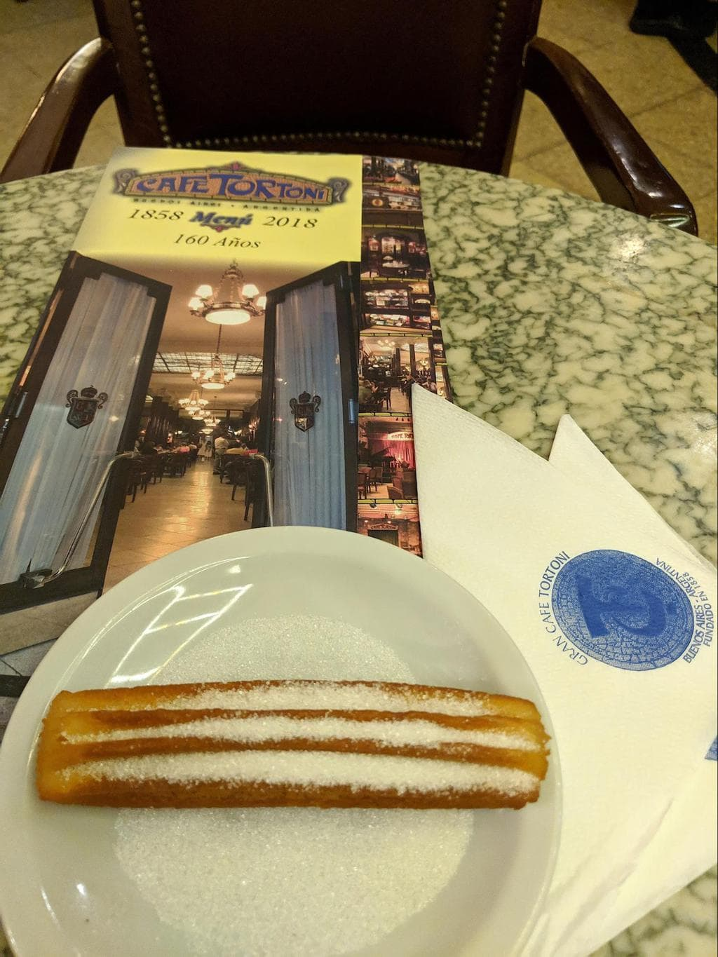 Churros in cafe Tortoni