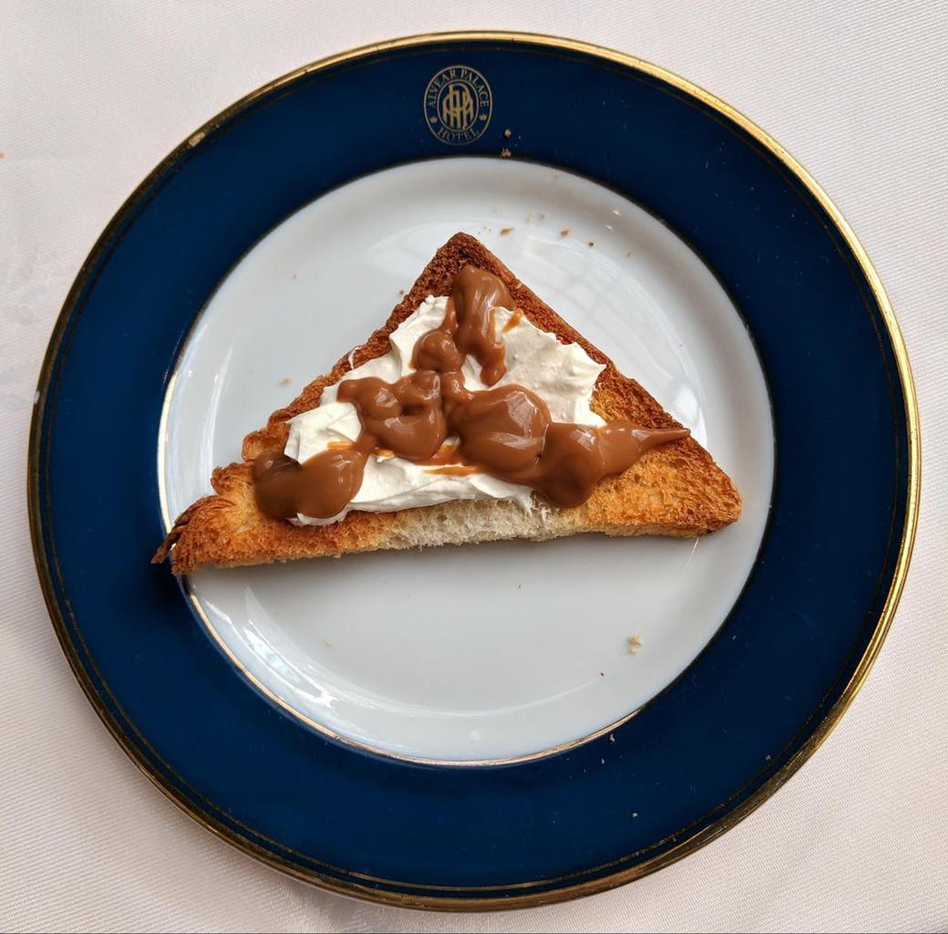 My true Argentinian breakfast - toast, dulce de leche, queso crema