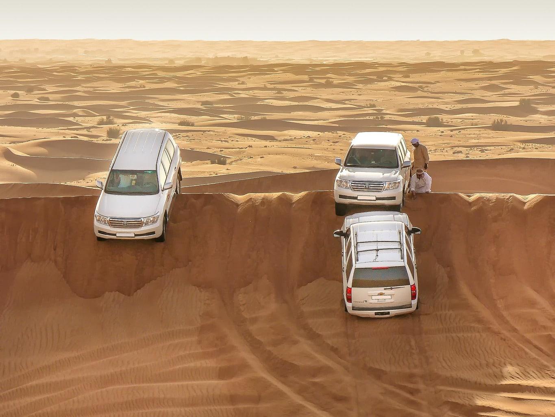 Cars on a desert safari