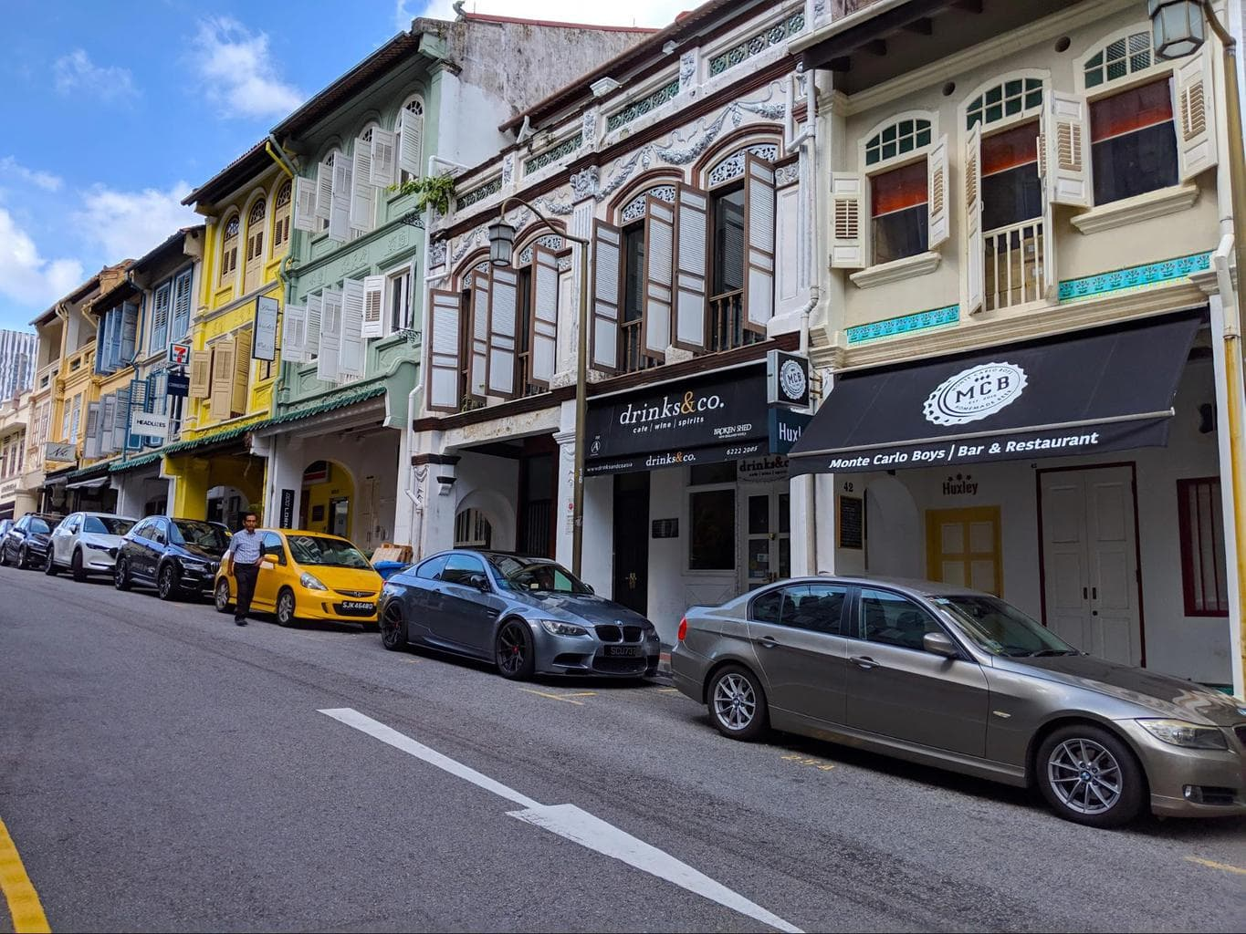 Club Street shophouses by day