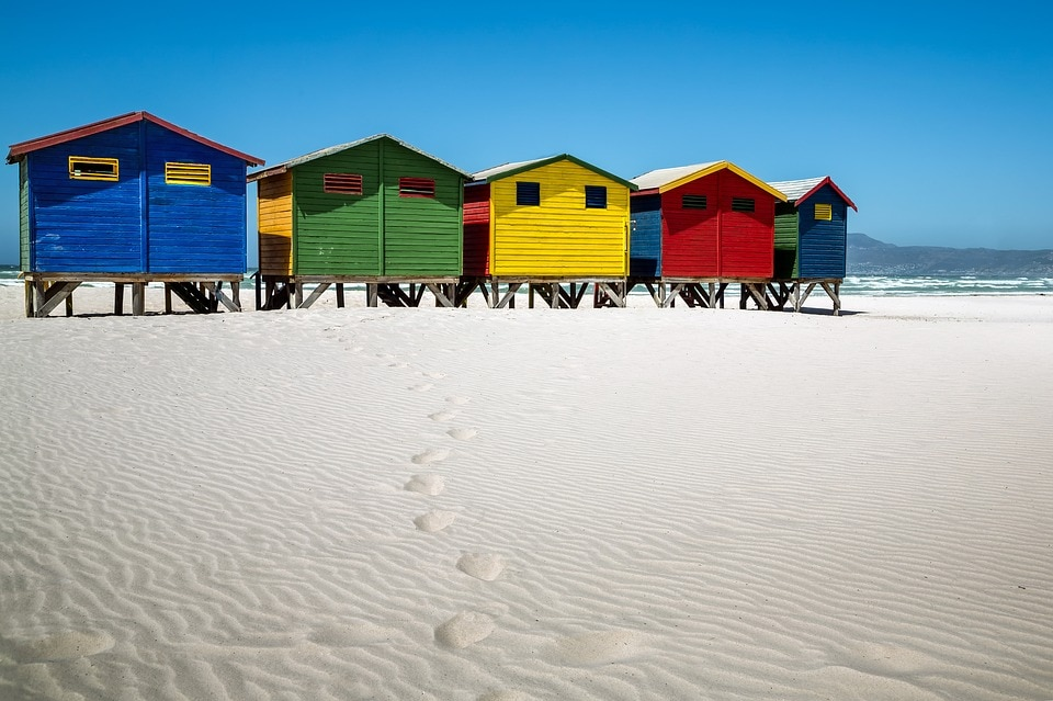 The iconic Muizenberg Beach changing rooms