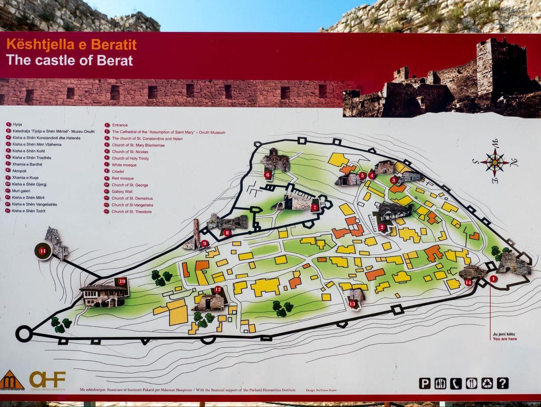 Berat Castle map
