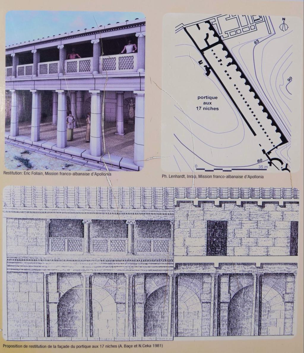 Drawing of what the Portico area must have looked like from the exhibit in Apollonia
