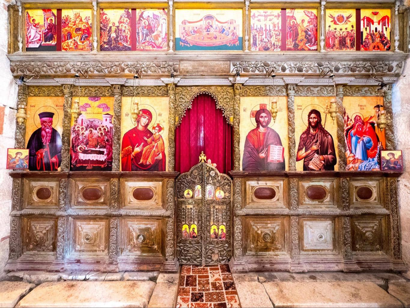 Iconostasis inside St. Mary's Church in Apollonia