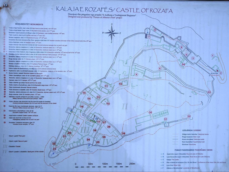 Rozafa Castle map