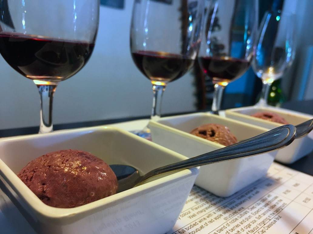 Wine infused ice cream