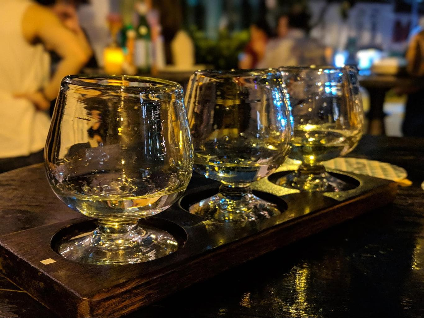 A flight of three mezcals to sample