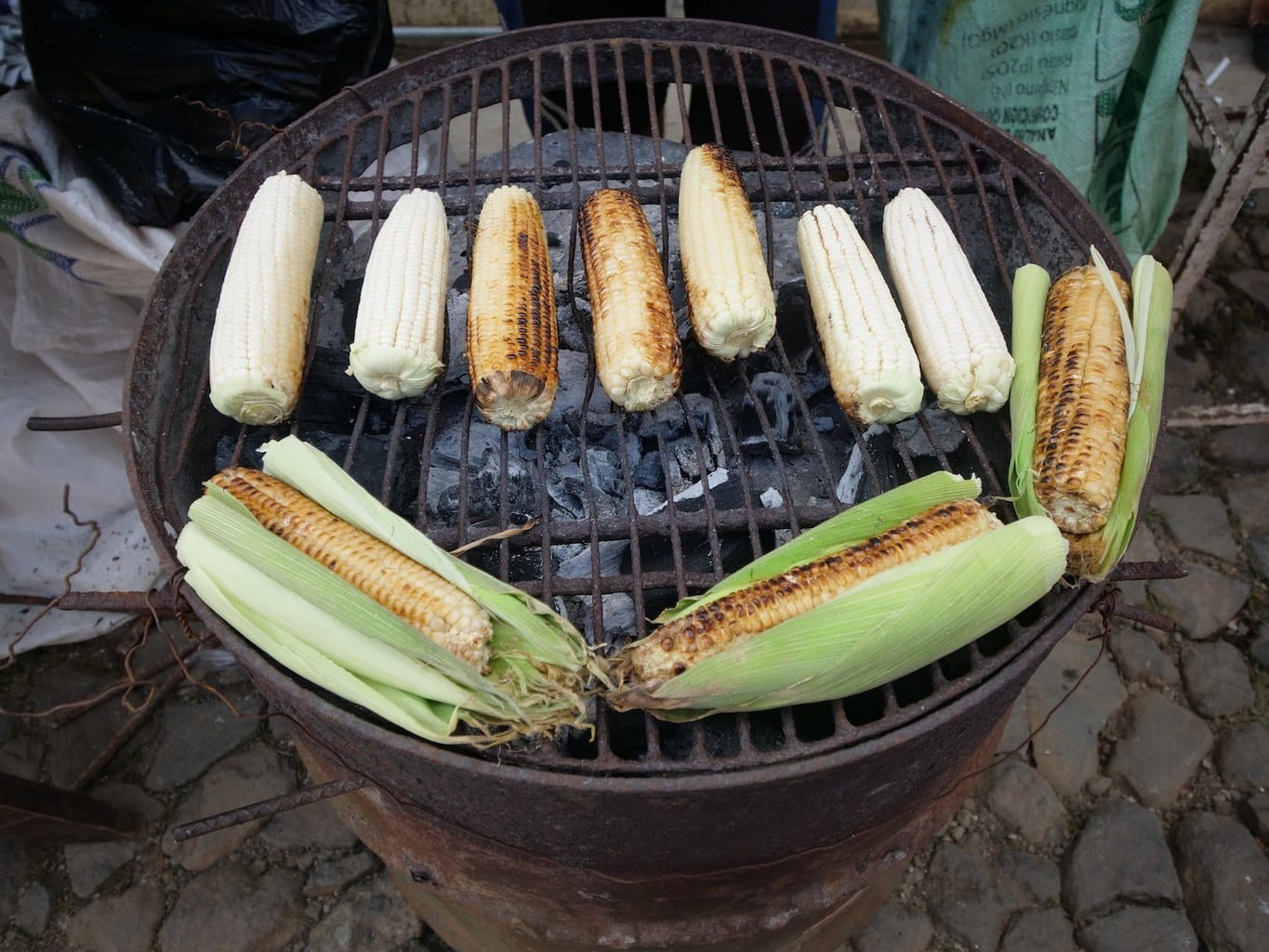 """Salvadorian elotes, corn on the cob"""