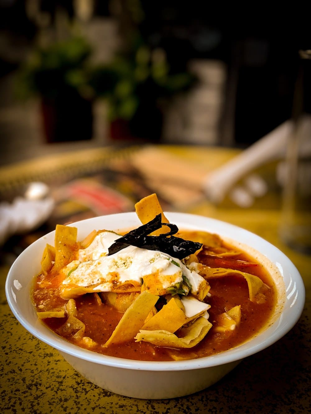 Sopa de tortilla basically a tomato soup filled with fried tortilla chip strips